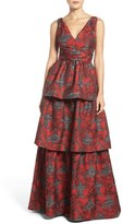Adrianna Papell Women's Tiered Jacquard Gown