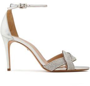 Schutz Jolita Crystal-embellished Metallic Leather Sandals