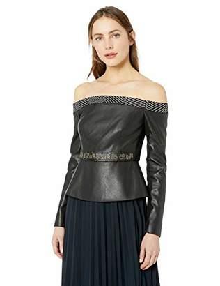 BCBGMAXAZRIA Women's Faux Leather Peplum Top