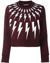 Neil Barrett lightning bolt print sweatshirt - women - Cotton/Polyurethane/Spandex/Elastane/Viscose - XXS