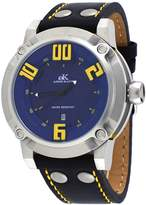 Adee Kaye #AK7281-M Men's 3-D Layer Blue Dial Analog Leather Band Watch