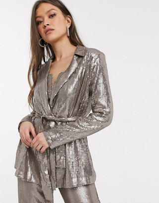 ASOS DESIGN all over sequin tailored soft jacket co-ord