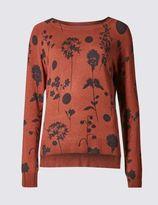 Marks and Spencer Floral Print Slash Neck Jumper