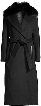 Mackage Silver Fox Fur Collar Wool-Blend Coat