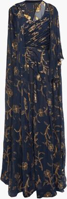 Oscar de la Renta Cape-back Metallic Fil Coupe Silk-blend Chiffon Gown