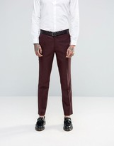 Harry Brown Slim Fit Suit Pants in Red Mini Check