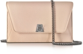 Akris Anouk Pale Rose Pebbled Leather Clutch w/Chain