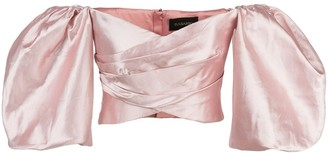 Rasario Puff Sleeve Satin Top