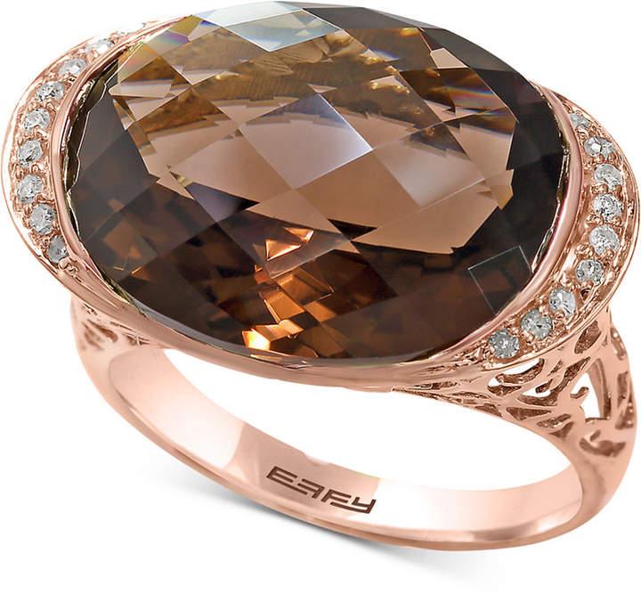 Effy Sienna by Smoky Quartz (11-9/10 ct. t.w.) & Diamond (1/10 ct. t.w.) Ring in 14k Rose Gold