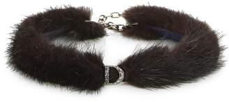 Christian Dior Brown Fur Logo Choker