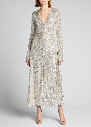 Rotate by Birger Christensen Sierra Sequined Long-Sleeve Cocktail Dress