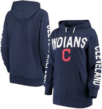 G Iii Women's G-III 4Her by Carl Banks Navy Cleveland Indians Extra Inning Colorblock Pullover Hoodie