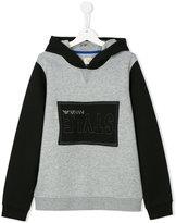 Armani Junior logo patch hoodie