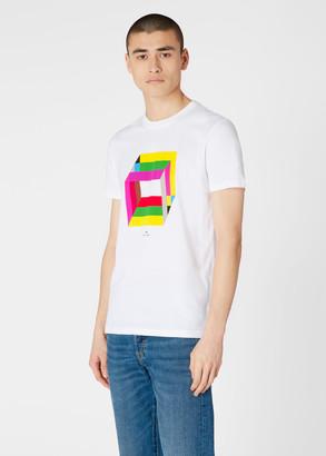 Paul Smith Men's Slim-Fit White 'Cube' Print Organic-Cotton T-Shirt