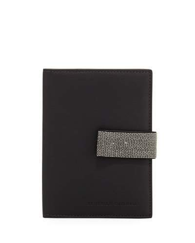 Brunello Cucinelli Leather Mini Wallet with Monili Snap