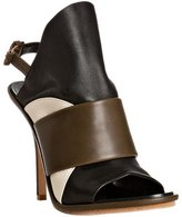 army leather colorblock slingback sandals