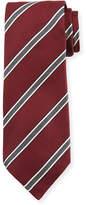 Kiton Framed Stripe Silk Tie, Red