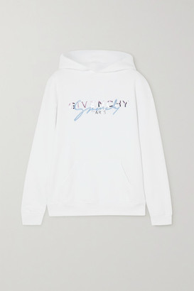Givenchy Embroidered Printed Cotton-jersey Hoodie - White