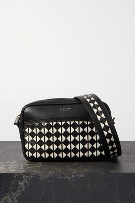 SERAPIAN Two-tone Woven Leather Shoulder Bag - Black