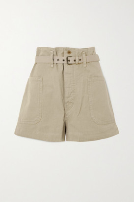 Etoile Isabel Marant Rike Belted Cotton And Linen-blend Shorts - Beige