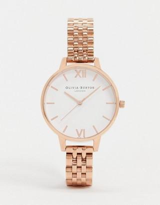 Olivia Burton OB16DEW01 White Demi Dial Bracelet Watch In Rose Gold