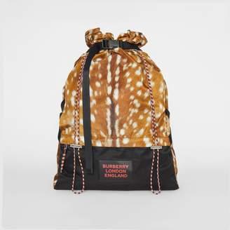 Burberry Deer Print Nylon Drawcord Backpack