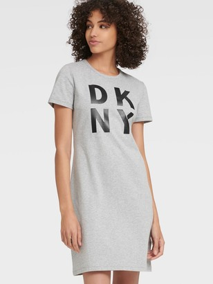 DKNY Women's Stacked Logo T-shirt Dress - Pearl Grey Heather - Size M