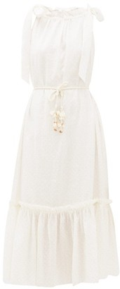 Zimmermann Zinnia Tie-strap Polka-dot Linen Dress - Ivory