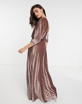 ASOS DESIGN velvet blouson long sleeve maxi dress with pleated skirt in nude