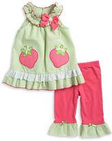 Nannette Girls 2-6x Little Girls Seersucker Strawberry Dress and Leggings Set