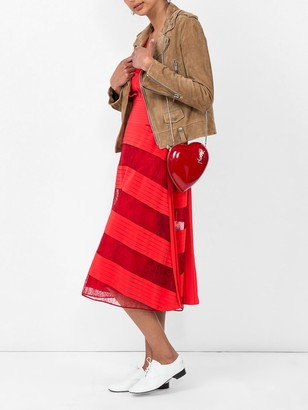 Valentino Lace And Pleated Silk Midi Dress
