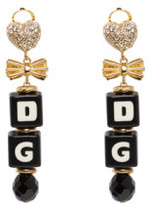 Dolce & Gabbana Black & Gold Dice Clip-On Earrings