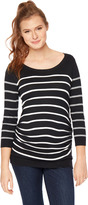 Motherhood Striped Side Ruched Maternity Sweater