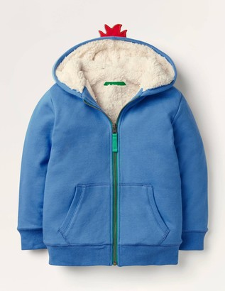 Shaggy-lined Applique Hoodie