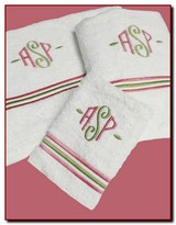 The Well Appointed House Set of Six Towels with Pink & Green Embroidery - Optional Monogram
