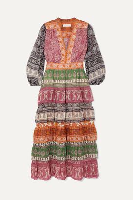 Zimmermann Amari Printed Tiered Cotton And Silk-blend Chiffon Dress - Magenta