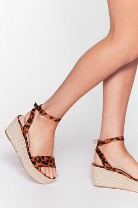 Nasty Gal Womens So Purrty Faux Suede Leopard Sandals - Brown