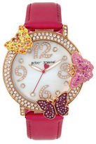 Betsey Johnson Goldtone Stainless Steel and Leather Butterfly Strap Watch