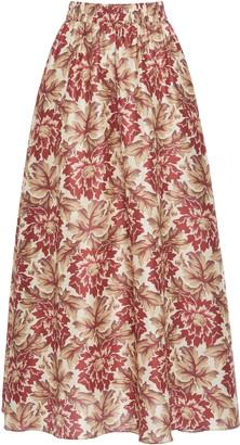 Sir. Valetta Floral-Print Silk Maxi Skirt