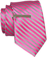 JCPenney JF J.Ferrar JF J. Ferrar Stripe Tie with Tie Bar