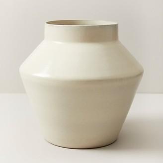 Oui Modern Terracotta Vase With Matte Cream Glaze Large