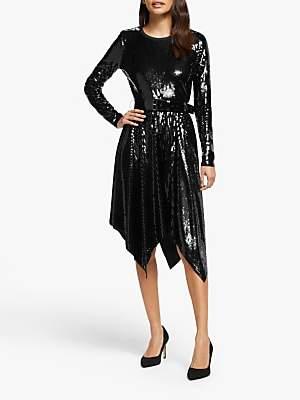 Michael Kors MICHAEL Sequin Handkerchief Hem Dress, Black