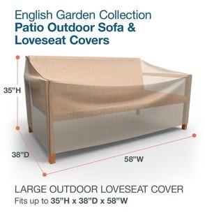 Budge Waterproof Outdoor Patio Loveseat Cover, English Garden, Tan Tweed, Multiple Sizes