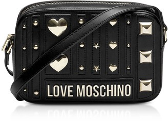 Love Moschino Black Heart Studs Eco-leather Camera Bag