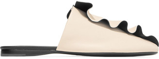 Mercedes Castillo Ginevra Ruffled Two-tone Leather Slippers