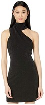 Badgley Mischka Twinkle Crepe Fitted Asymmetrical Cocktail Dress (Black) Women's Clothing