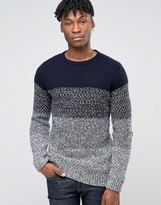 Esprit Crew Neck Knit with Block Stripe Mixed Yarn