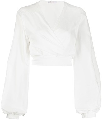 Oseree Cropped Wrap Blouse