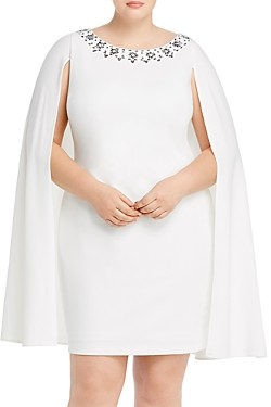 Adrianna Papell Plus Rhinestone Trim Cape Dress