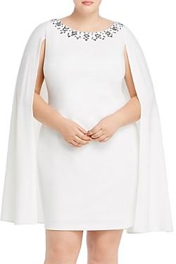 Adrianna Papell Plus Rhinestone-Trim Cape Dress